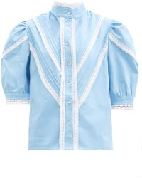 Acheval Pampa Yegua Lace-trimmed Cotton-poplin Blouse - Blue
