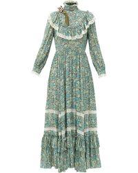 Gucci リバティロンドン クレープドレス - グリーン