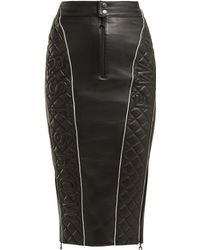 Marine Serre Quilted Leather Pencil Skirt