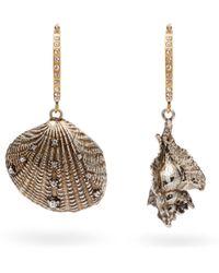 Alexander McQueen - Metallic Swarovski Embellished Shell Hoop Earrings - Lyst
