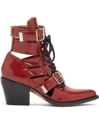 Chloé Rylee Leather Ankle Boots - Red