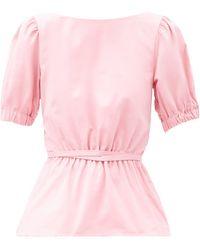 STAUD Marie Open-back Cotton-blend Top - Pink