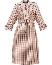 Prada Manteau en gabardine à carreaux - Multicolore