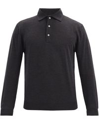 Thom Sweeney Wool-jersey Long-sleeved Polo Shirt - Multicolour