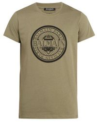 Balmain - Circle Logo-print Cotton T-shirt - Lyst