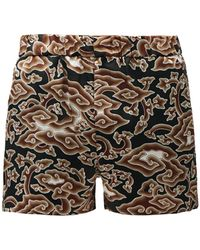 Edward Crutchley Cloud-print Silk-satin Shorts - Black