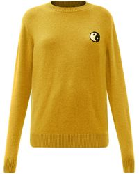 The Elder Statesman Yin And Yang-embroidered Cashmere Jumper - Yellow