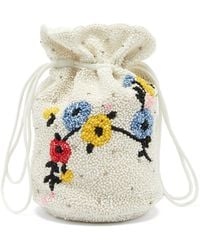 Ganni Hand-beaded Floral Drawstring Pouch - White