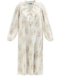 Ganni フローラル リサイクルプリーツジョーゼットドレス - ホワイト