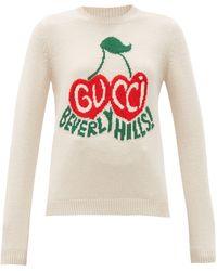 Gucci - チェリー インターシャ ウールセーター - Lyst