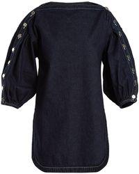 Rachel Comey Billow Slash-neck Denim Top - Blue
