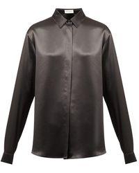 Saint Laurent Point-collar Silk-satin Blouse - Black