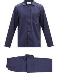 CDLP ホーム スーツ サテンパジャマ - ブルー