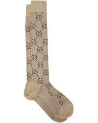 Gucci GG-intarsia Knee-high Cotton-blend Lamé Socks - Multicolour