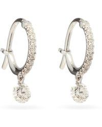 Raphaele Canot ダイヤモンド 18kホワイトゴールドフープピアス - メタリック