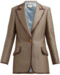 Gucci GG Single-breasted Cotton-blend Jacket - Natural