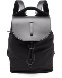 Burberry ポケット ナイロン&レザー バックパック - ブラック