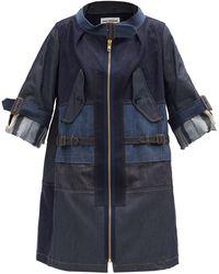 Junya Watanabe Patchwork Denim Parka Coat - Blue