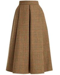 Luisa Beccaria - Hound's-tooth Checked Wool Midi Skirt - Lyst