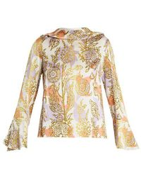 Peter Pilotto - Roll-neck Floral-print Silk Blouse - Lyst