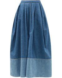 Chloé Chloé バンドゥヘム デニムミディスカート - ブルー