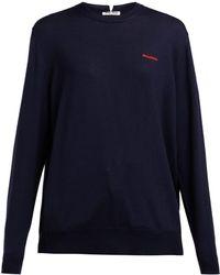 Miu Miu - Logo Embroidered Wool Sweater - Lyst