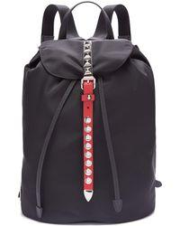 bcfc9bff74ba2d Prada - New Vela Studded Nylon Backpack - Lyst