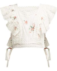 Zimmermann Heathers Floral Print Embroidered Crop Top - White