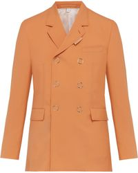 Burberry - Double Breasted Press Stud Wool Jacket - Lyst