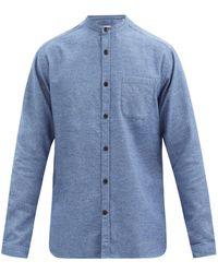 Oliver Spencer スタンドカラー コットンピケシャツ - ブルー