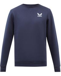 Castore Amc-embroidered Cotton-blend Jersey Sweatshirt - Blue