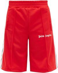Palm Angels Short en jersey à logo et bandes latérales - Rouge