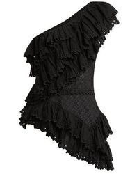 Isabel Marant - Zellery One-shoulder Broderie-anglaise Cotton Top - Lyst