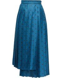 Fendi カーリグラフィ シルクプリーツスカート - ブルー