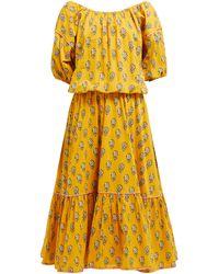 RHODE - Robe midi en voile de coton à imprimé fleuri Frida - Lyst