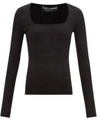 Dolce & Gabbana スクエアネック ジャージートップ - ブラック