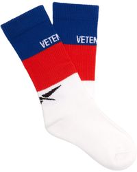 Vetements - X Reebok Logo Intarsia Cotton Blend Socks - Lyst