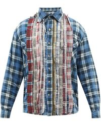 Needles リビルド 7カッツ チェックフランネルシャツ - ブルー