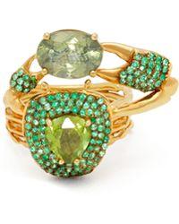 Daniela Villegas - Thaumas 18kt Gold, Emerald & Tourmaline Ring - Lyst