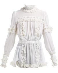 Dolce & Gabbana Ruffled Lace-insert Silk-blend Blouse - White