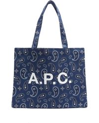 A.P.C. Diane Logo-print Cotton-canvas Tote - Blue