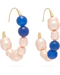 Peter Pilotto Mismatched Faux Pearl Hoop Earrings - Blue