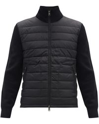 Moncler Down-quilted Wool-blend Cardigan - Black