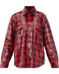 Ashish オーバーサイズ スパンコール チェックシャツ - レッド