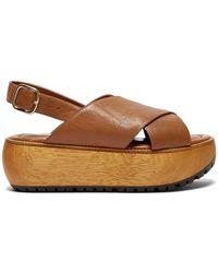 Marni - Cross-strap Grained Leather Flatform Sandals - Lyst