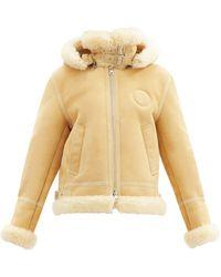 Chloé Hooded Shearling Coat - Natural