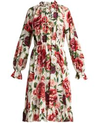 Dolce & Gabbana - Silk Crepe De Chine Rose And Peony-print Dress - Lyst