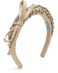 Prada - Crystal Embellished Satin Headband - Lyst
