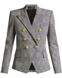 Balmain - Prince Of Wales Double-breasted Blazer - Lyst