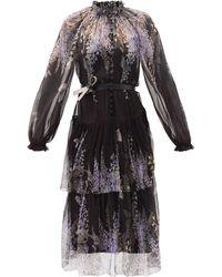 Zimmermann フローラルシルクジョーゼットドレス - ブラック